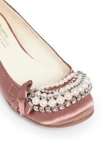 Gabble仿水晶珍珠装饰缎面平底鞋