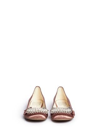 PEDRO GARCÍA-Gabble仿水晶珍珠装饰缎面平底鞋