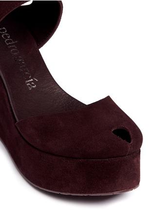 Detail View - Click To Enlarge - Pedro García - 'Delores' peep toe platform wedge suede sandals