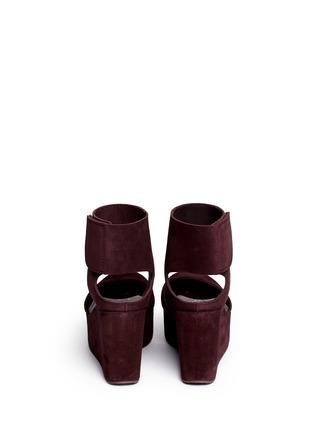 Back View - Click To Enlarge - Pedro García - 'Delores' peep toe platform wedge suede sandals