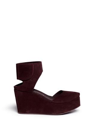 Main View - Click To Enlarge - Pedro García - 'Delores' peep toe platform wedge suede sandals