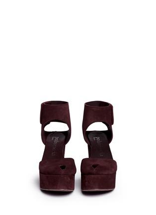 Figure View - Click To Enlarge - Pedro García - 'Delores' peep toe platform wedge suede sandals