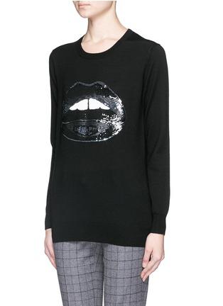 Front View - Click To Enlarge - MARKUS LUPFER - 'Dark Lara Lip' sequin Natalie sweater