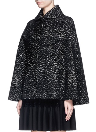 Front View - Click To Enlarge - Alaïa - 'Asteroide' velour knit cape