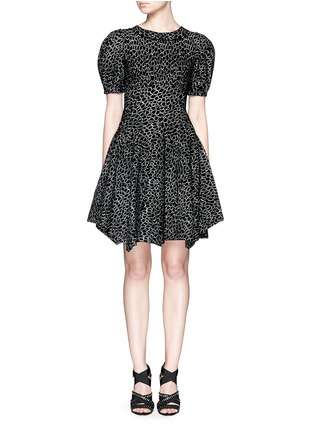Main View - Click To Enlarge - Alaïa - 'Asteroide' abstract pattern flare dress
