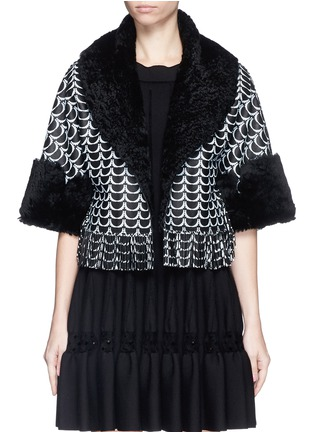 Main View - Click To Enlarge - Alaïa - Oversize bumpy arch fringe hem shearling cropped jacket