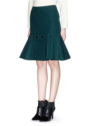 Front View - Click To Enlarge - Sacai - Button tab front drop waist felt skirt