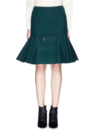 Main View - Click To Enlarge - Sacai - Button tab front drop waist felt skirt