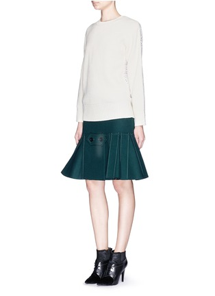 Figure View - Click To Enlarge - Sacai - Button tab front drop waist felt skirt