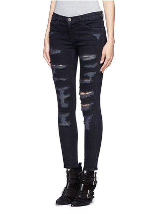Front View - Click To Enlarge - Current/Elliott - 'The Stiletto' ripped skinny jeans