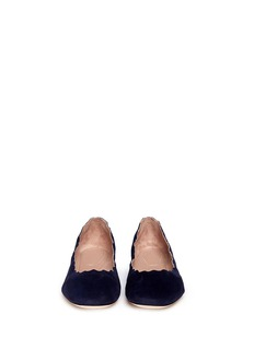 CHLOÉ Scalloped edge suede flats