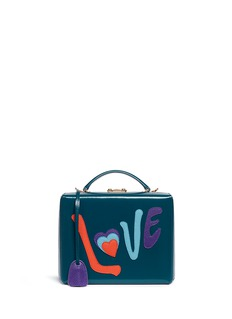 Mark Cross 'Grace Large Box' Love appliqué leather trunk