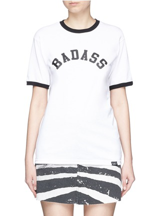 Main View - Click To Enlarge - Olive and Frank - 'Badass' slogan print cotton T-shirt