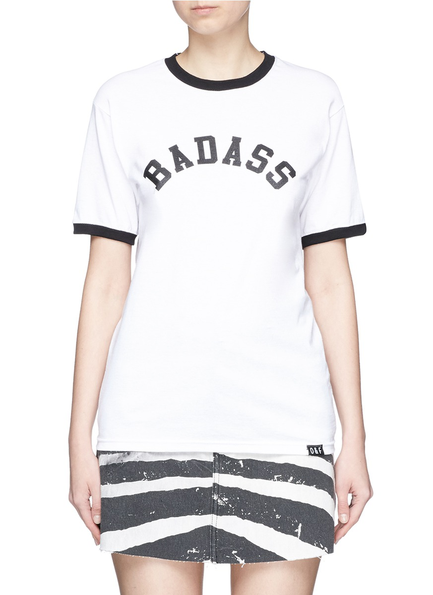 Badass slogan print cotton T-shirt by Olive and Frank