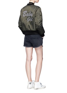Olive and Frank 'Baby Girl' embroidered padded MA-1 bomber jacket