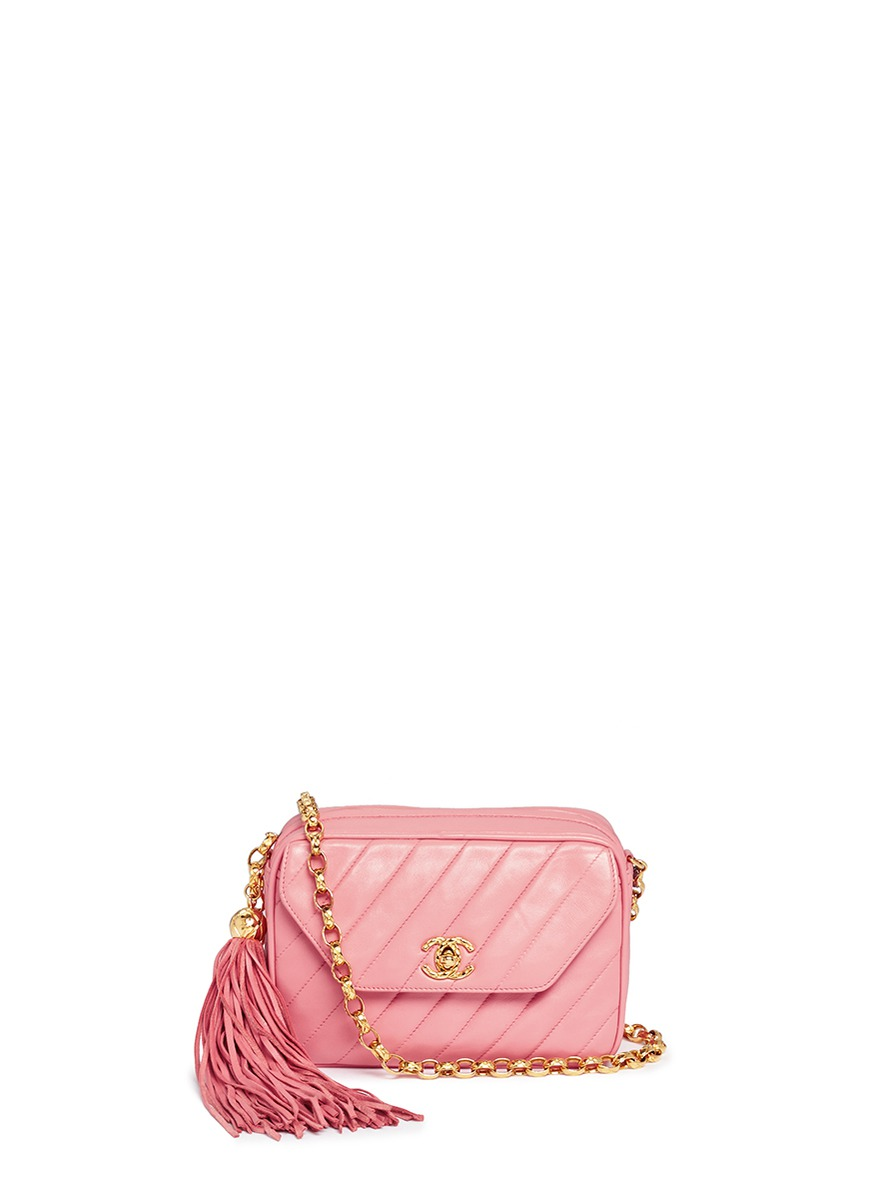 Quilted leather tassel chain bag by Vintage Chanel