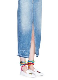 Joshua Sanders'LA' embroidered pompom ankle tie slip-ons