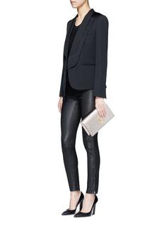 Saint Laurent'Classic Monogram' metallic leather flap clutch