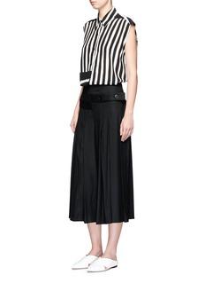 TomeStripe lace-up back silk chiffon shirt