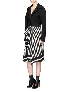 TomeStripe sash waist silk chiffon skirt