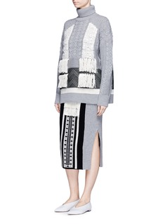 MameTassel jacquard panel rib knit midi skirt