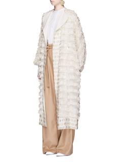 MameFringe fil coupé wool blend coat
