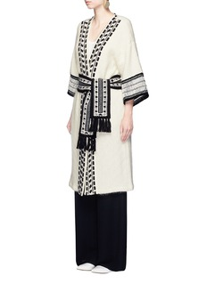 Mame Lace stripe belted wool-mohair knit coat