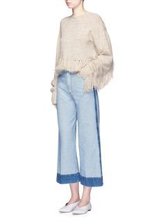 MameFringe wool-silk sweater
