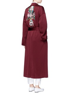 Mame Floral embroidered pyjama coat