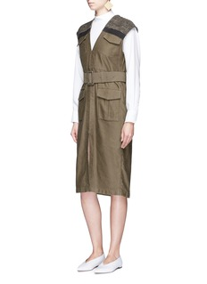 Mame Ribbon woven shoulder belted twill dress