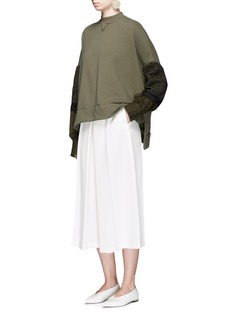 Mame Ribbon woven sleeve French terry sweatshirt