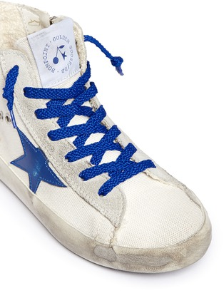 Detail View - Click To Enlarge - Bonpoint - x Golden Goose 'Tennis' suede trim canvas kids sneakers