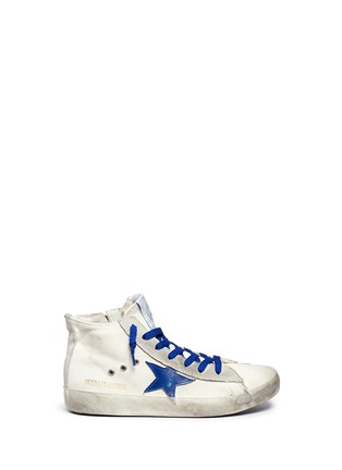 Main View - Click To Enlarge - Bonpoint - x Golden Goose 'Tennis' suede trim canvas kids sneakers
