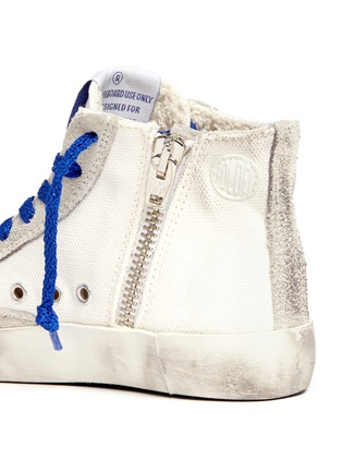 Detail View - Click To Enlarge - Bonpoint - x Golden Goose 'Tennis' suede trim canvas toddler sneakers