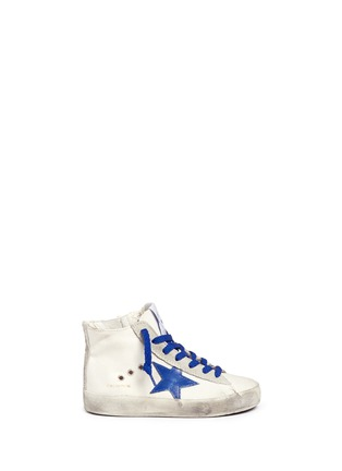 Main View - Click To Enlarge - Bonpoint - x Golden Goose 'Tennis' suede trim canvas toddler sneakers
