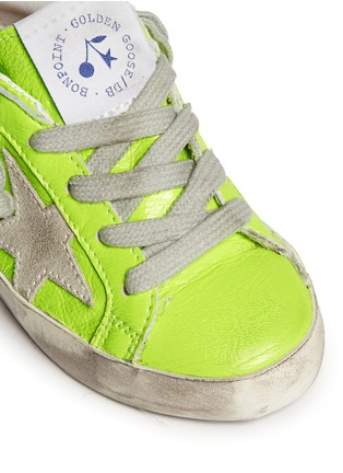 Detail View - Click To Enlarge - Bonpoint - x Golden Goose 'Tennis' neon leather toddler sneakers
