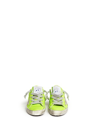 Figure View - Click To Enlarge - Bonpoint - x Golden Goose 'Tennis' neon leather toddler sneakers