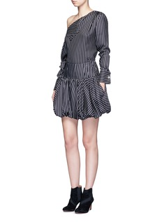 Monse Asymmetric cold shoulder pinstripe silk shirt