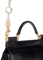 'Miss Sicily' mini lizard embossed leather pearl chain satchel