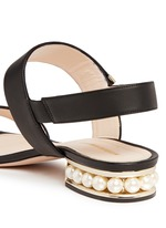 Faux pearl heel leather slingback sandals