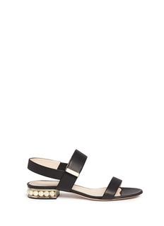 Nicholas KirkwoodFaux pearl heel leather slingback sandals