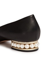 'Casati' faux pearl heel leather skimmer loafers
