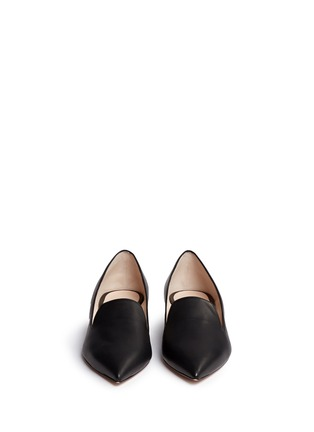 Front View - Click To Enlarge - Nicholas Kirkwood - 'Casati' faux pearl heel leather skimmer loafers
