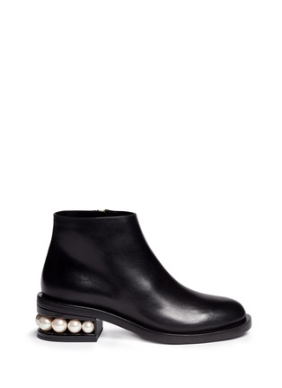 Main View - Click To Enlarge - Nicholas Kirkwood - 'Casati' faux pearl heel leather ankle boots