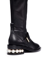 Faux pearl heel thigh high leather boots