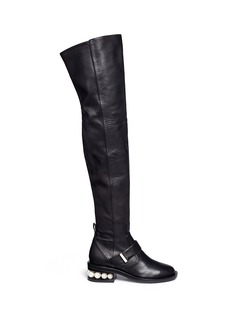 Nicholas Kirkwood Faux pearl heel thigh high leather boots