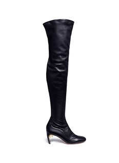 NICHOLAS KIRKWOODFaux pearl stretch leather thigh high boots