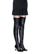 Faux pearl stretch leather thigh high boots