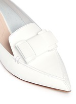 'Beya' bow metal heel leather skimmer loafers