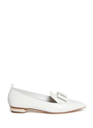 Main View - Click To Enlarge - Nicholas Kirkwood - 'Beya' bow metal heel leather skimmer loafers